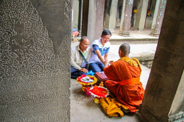 3-Day Angkor Wat Itinerary: Blessing By a Monk