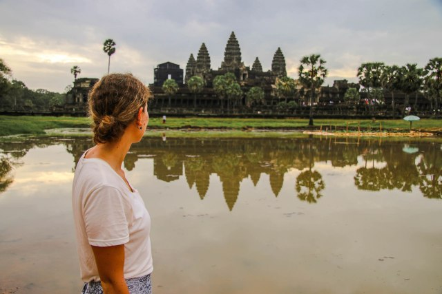 Sunrise at Angkor Wat during rainy season