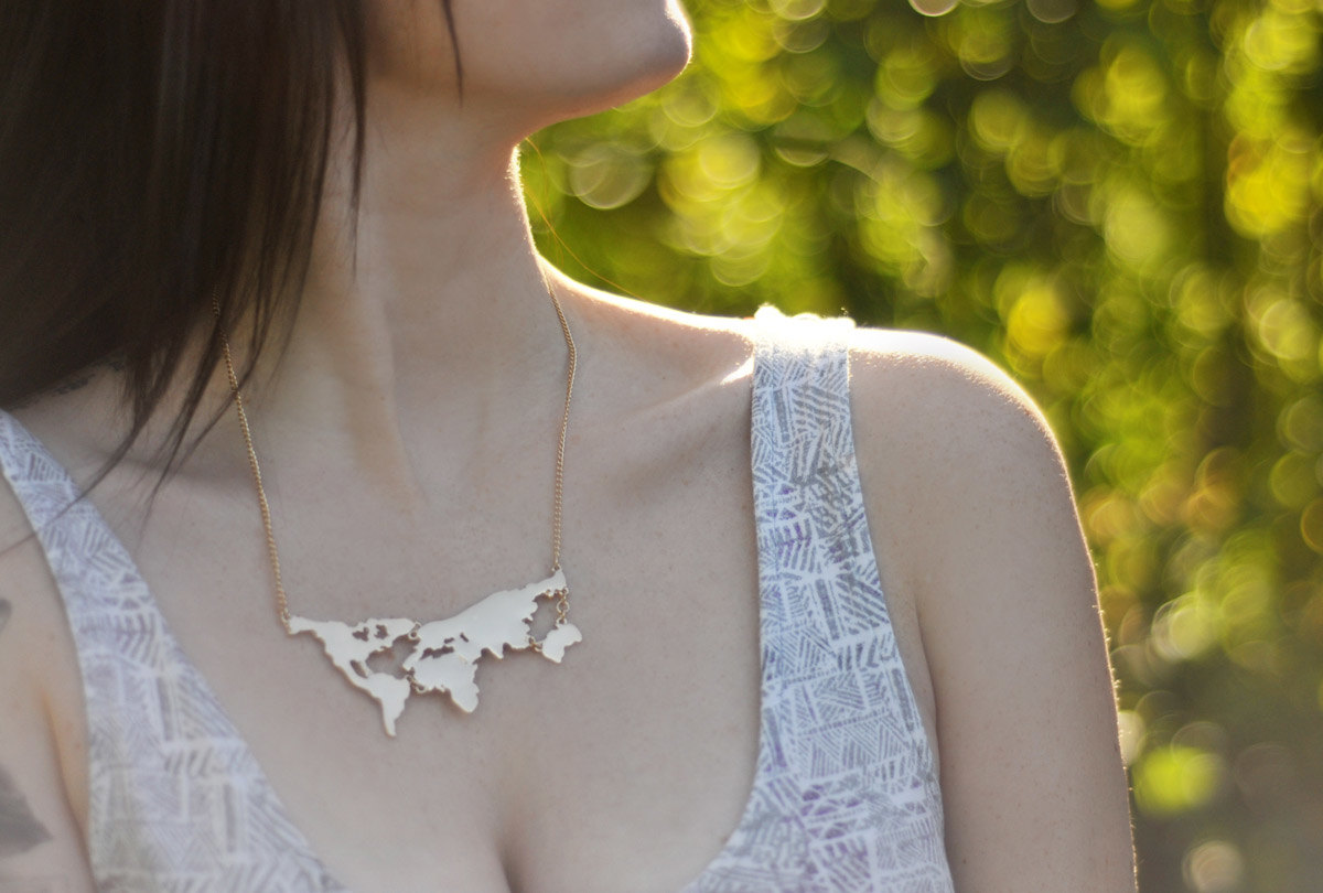 World Map Necklace at Php230.00 (EXCLUSIVE OF SHIPPING FEE)