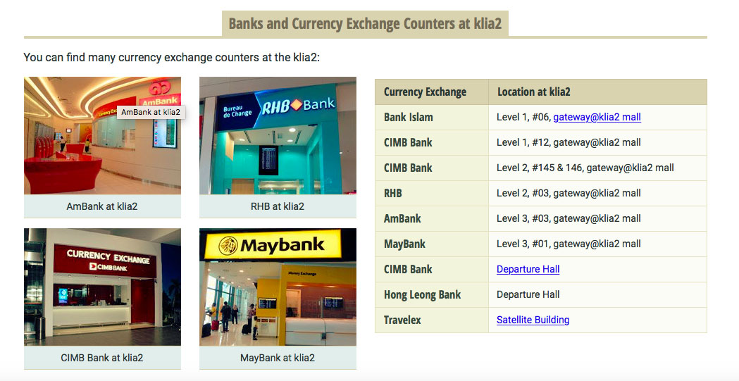 Malaysia Travel Guide Money exchange in KLIA2