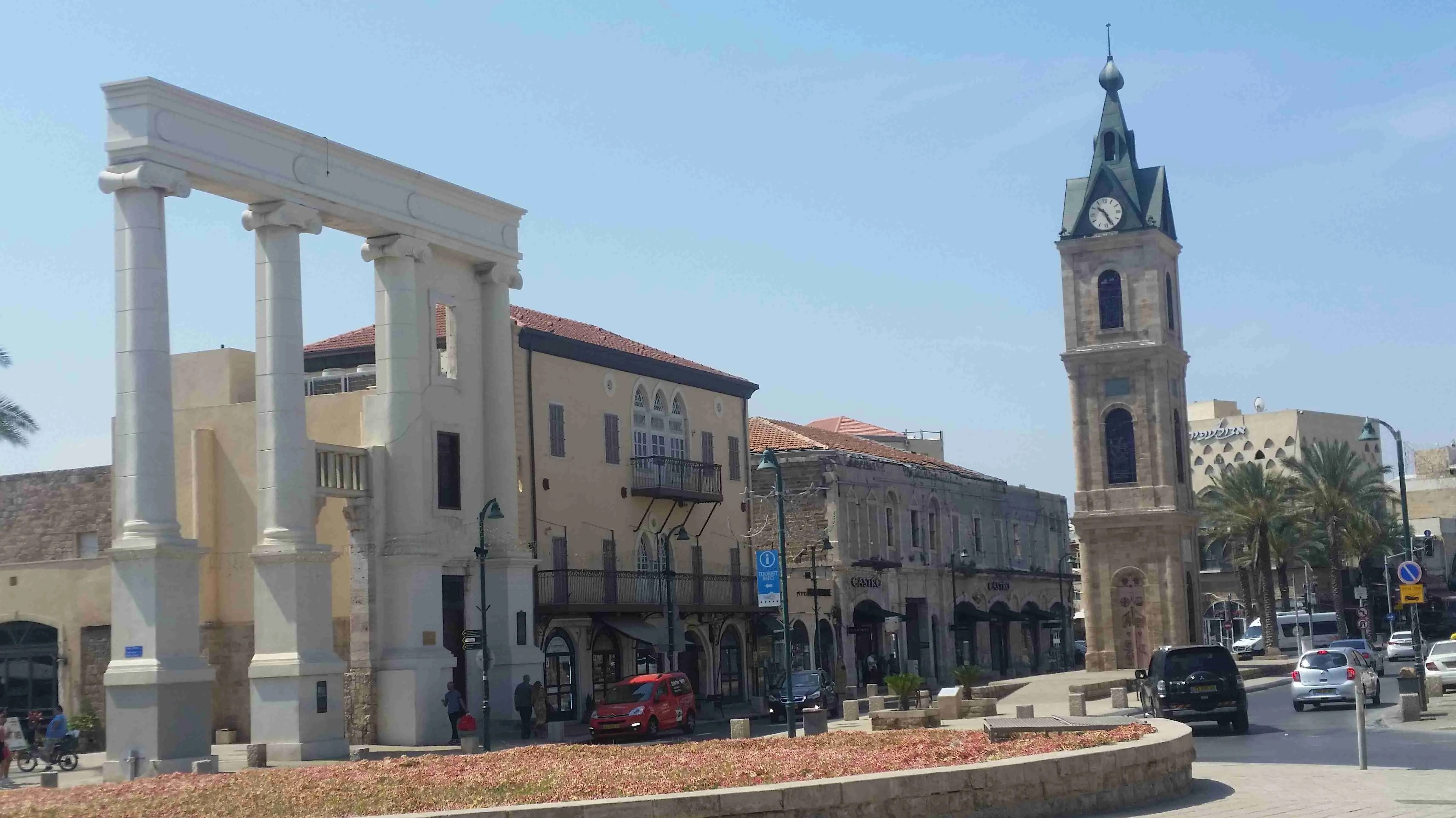 The clocktower and the restored facade