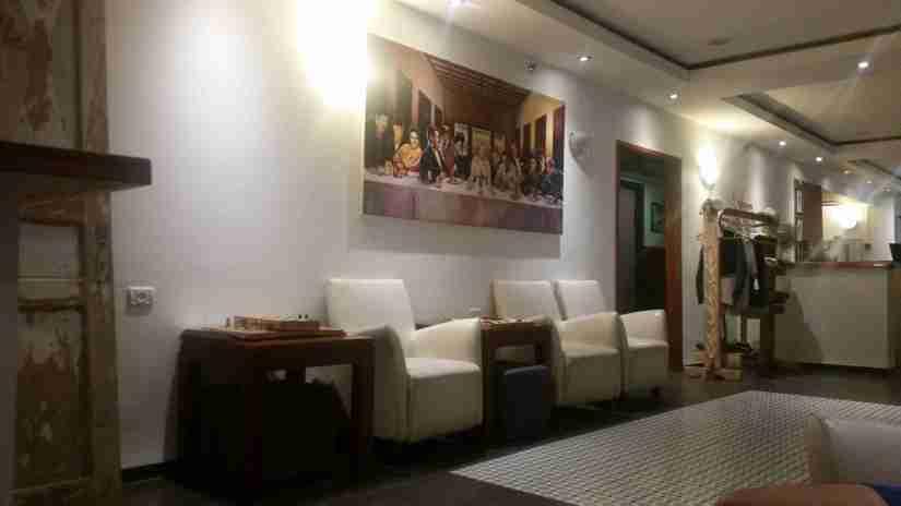 The hostel's lobby area