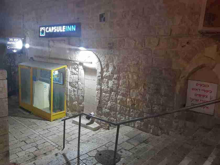 The entrance to CapsuleInn Jerusalem