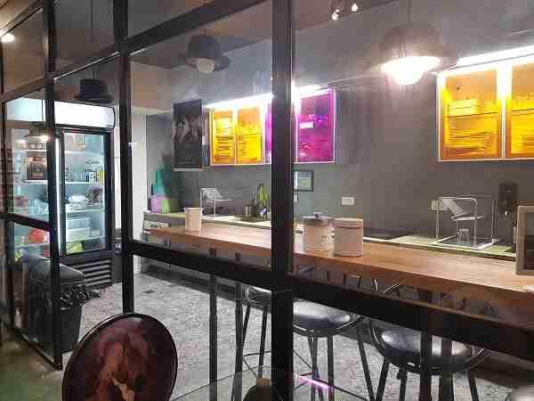 The guest kitchen at Cinema Hostel