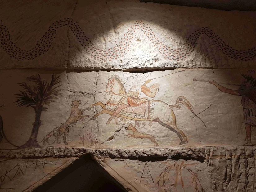 One of the beautiful paintings in the Apollophanaes Cave, Beit Guvrin National Park