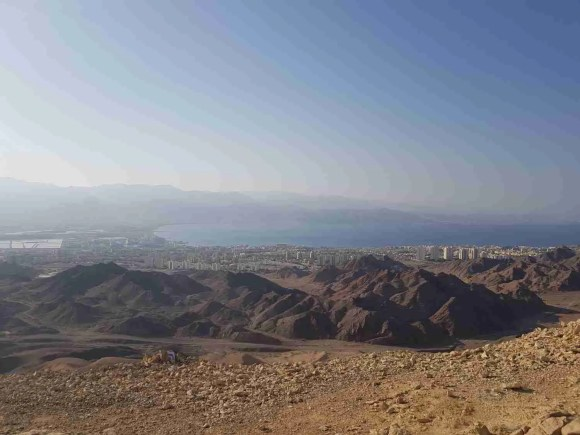 View of the Red Sea Gulf and Eilat from the top of the White Mountain