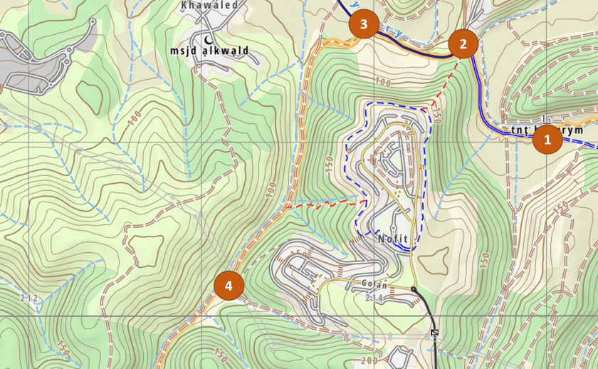 The map of the segment from the Hermits' Mill to Yagur, taken from israelhiking.osm.org.il/