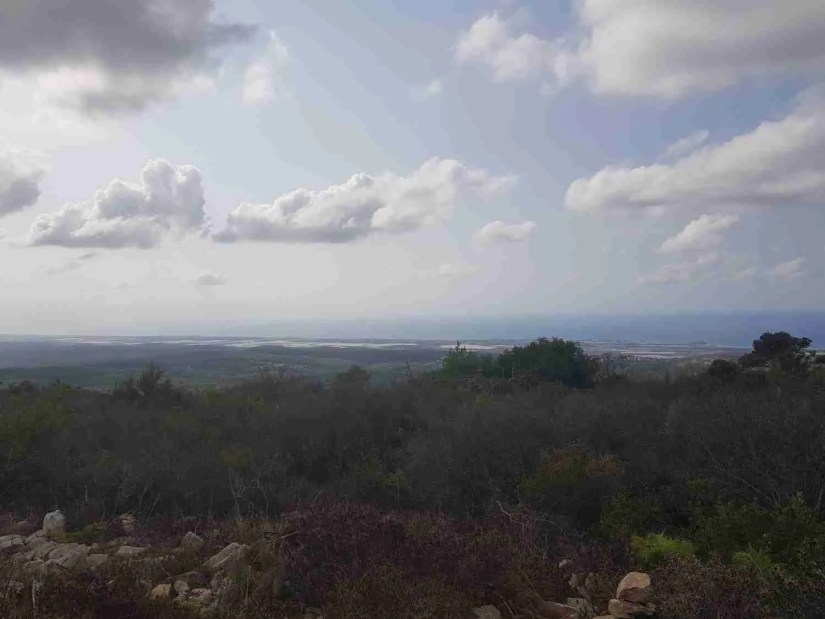 Our first glimpse of the Mediterranean Sea on the Israel National Trail