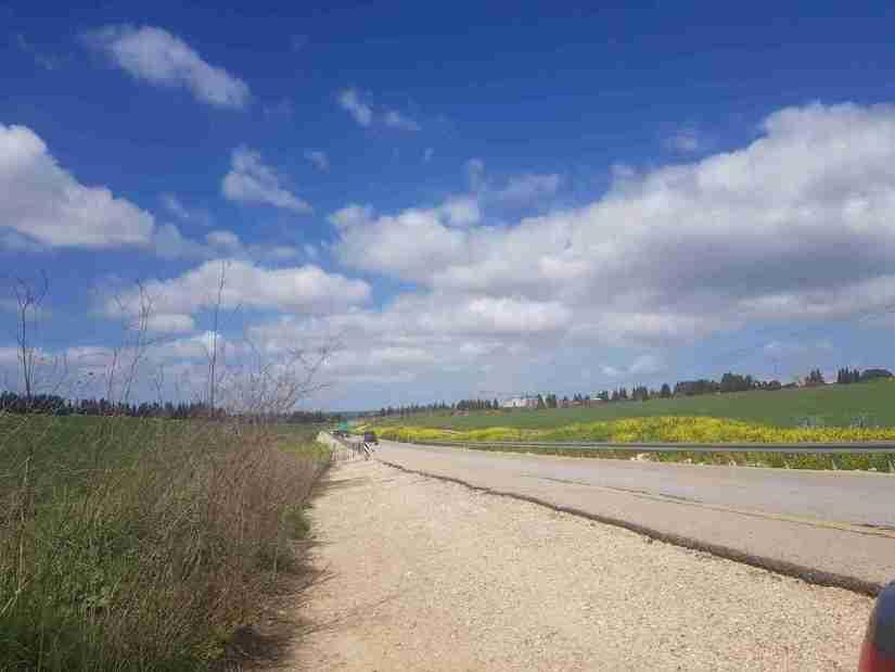 Road crossing on the Ramot Menashe Regional Trail