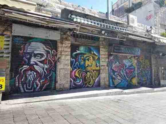 The graffiti works in Machane Yehuda Market