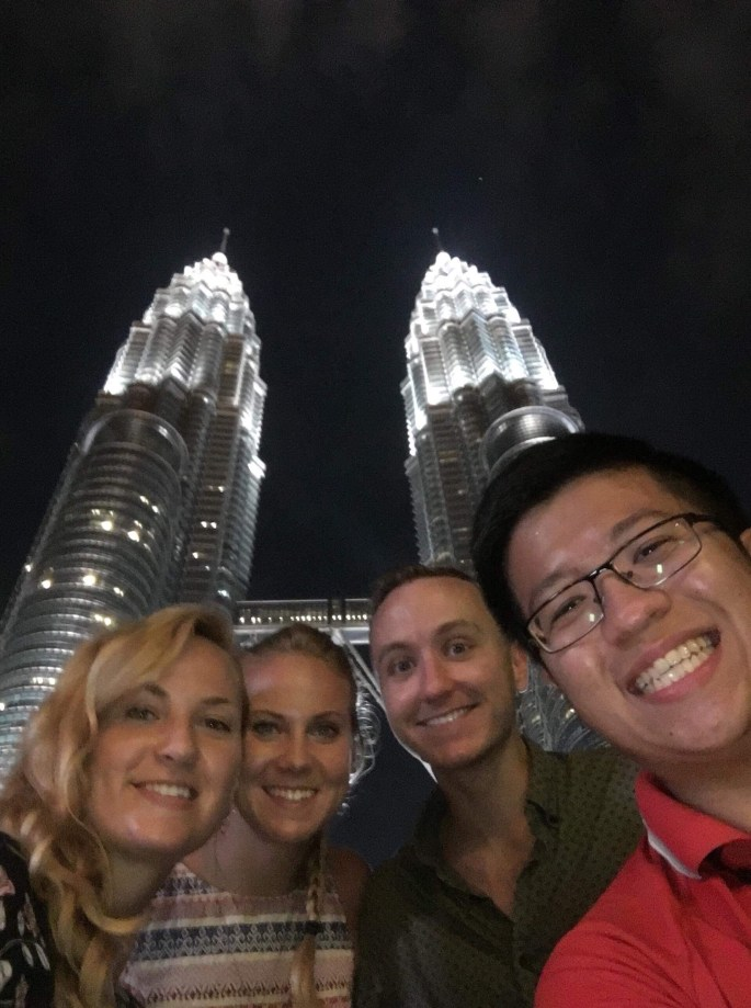 Meeting up with friends while backpacking in malaysia