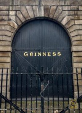 A gate at the Guinness Brewery in Dublin, Ireland.