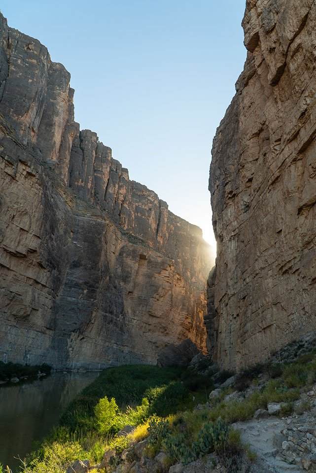 Things to do in Big Bend: Watch a sunset in Santa Elena Canyon. The walls of the canyon turn shades of gold.