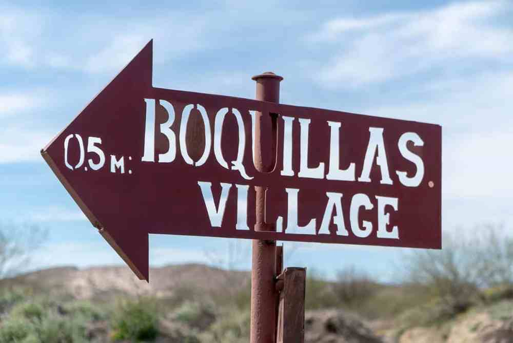 Things to do in Big Bend national park: Cross the Rio Grande into Mexico and visit Boquillas. Here, a sign points to the small village.