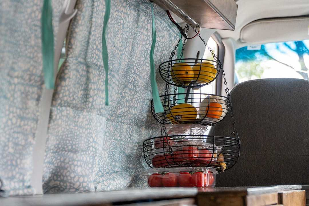 How to Make Your Van Feel Like Home: Kitchen Hanging Basket