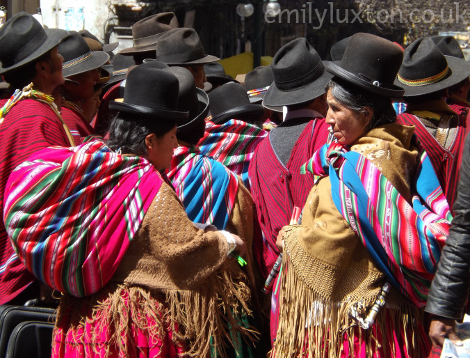 Cholitas in traditional dress