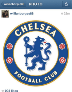 PIC: Willian posts picture of Chelsea crest on Instagram
