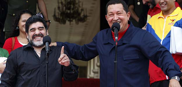 The late President Hugo Chavez with his friend and supporter, Diego Maradona.