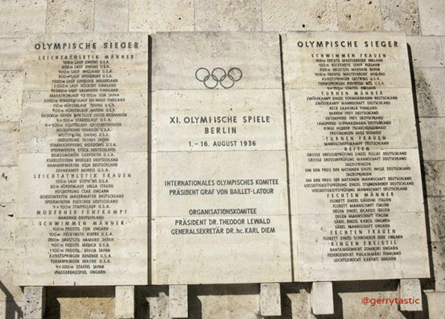 Commemorating victors at the 1936 Olympics. Theodor Lewald's name is shown on the central panel.