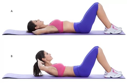 Partial Crunches exercise for lower back pain