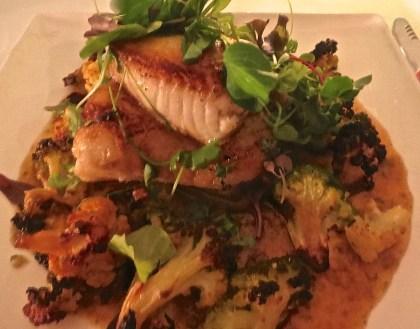 Roasted Chilean Sea Bass, Caramelized Cauliflower and Caper Raisin Emulsion