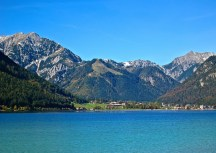 Achensee With The Town Of Achenkirch In The Distance