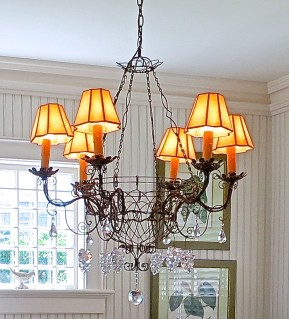 Wire And Crystal Chandelier