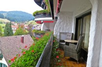 Flower Bedecked Balcony Looking Out At The Black Forest