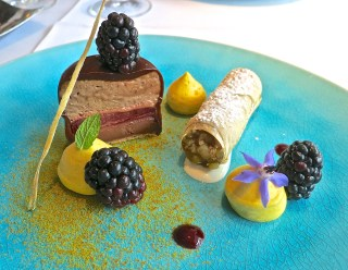 A Fantastic Chocolate Dessert With Pumpkin Strudel, Pumpkin Ice Cream And Blackberries