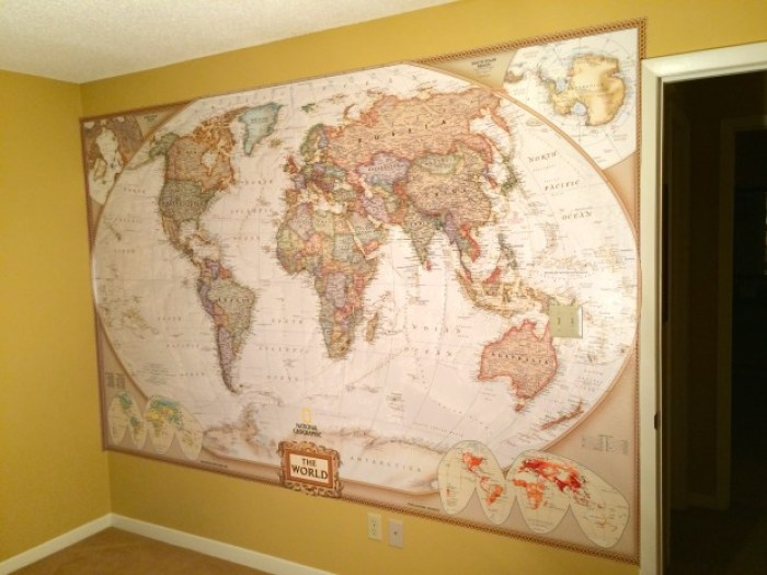 How to hang a national geographic world map mural img4667 gumiabroncs Choice Image