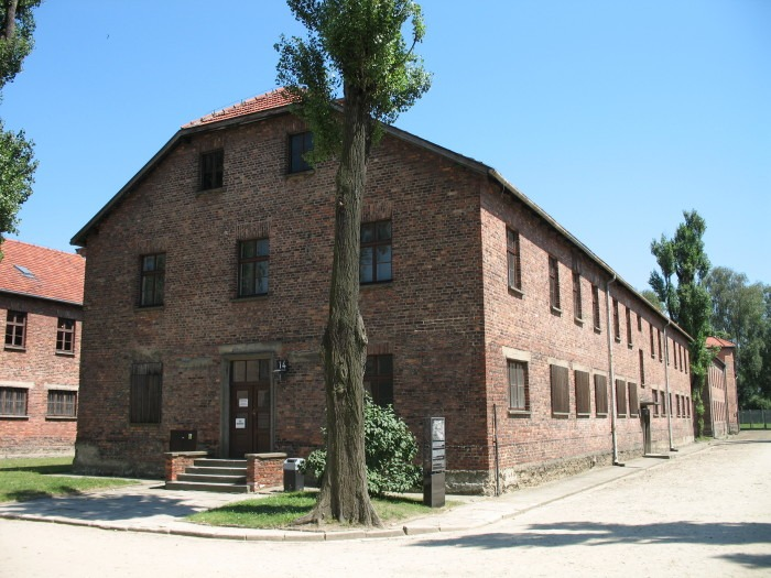 Auschwitz I brick building.