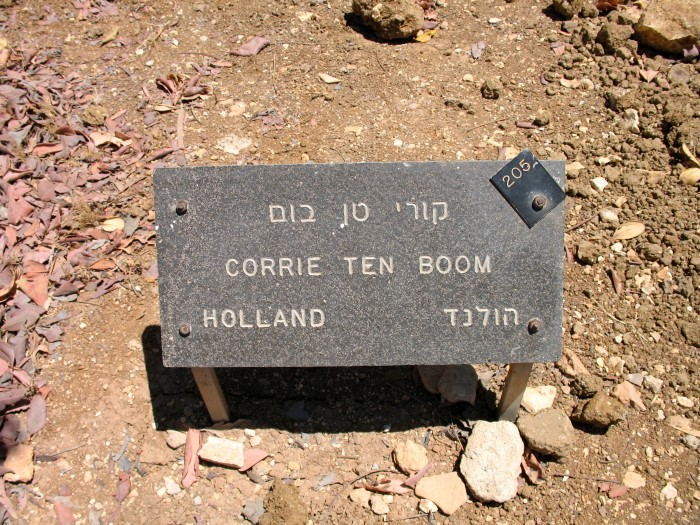 Corrie ten Boom's Righteous Among the Nations marker at Yad Vashem in Jerusalem, Israel.
