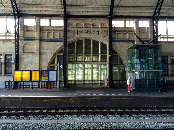 Inside Haarlem, Netherlands train station.