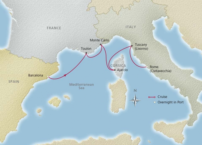 MAP LRG RomanticMed 2015 956x690 tcm13 15578 - 18 Reasons to Cruise the Mediterranean on the Viking Star