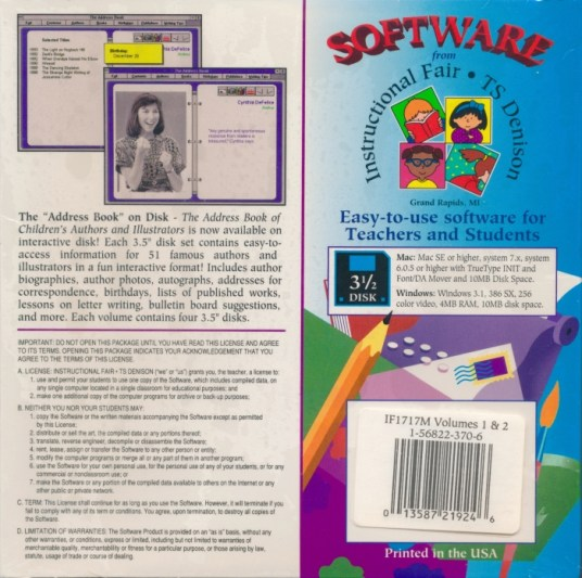 The Address Book of Children's Authors and Illustrators Software Back Howard Blount