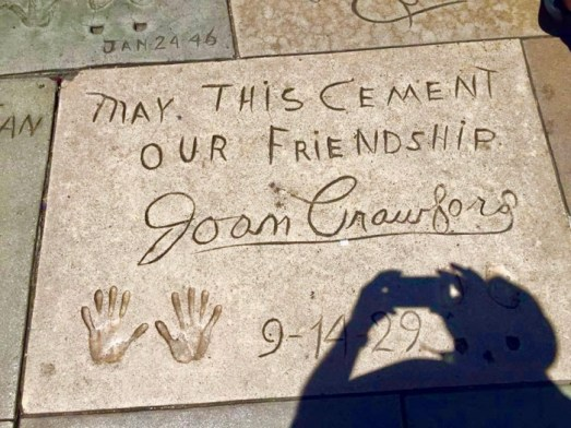 Joan Crawford handprints and autograph in cement