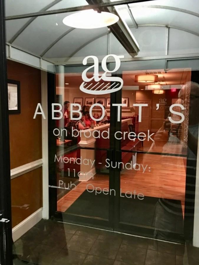 Abbott's on Broad Creek door
