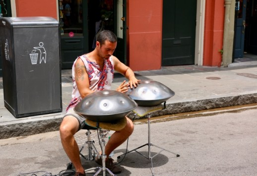 Man playing steel drums