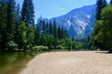 River and sandy beach at Yosemite National Park