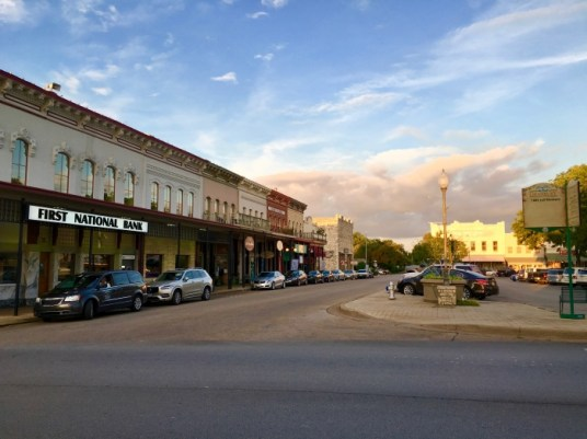 downtown Granbury, Texas, at sunset
