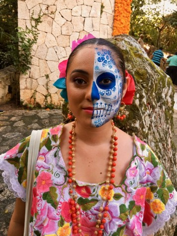 Day of the Dead half-painted face
