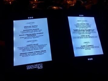 Xcaret México Espetácular dinner theater menu