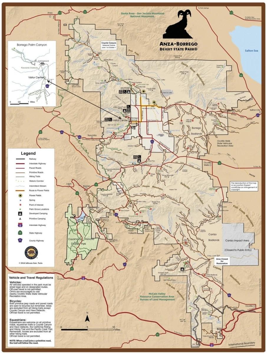 Anza Borrego Map Wildflower Chasing at Anza Borrego Desert State Park California
