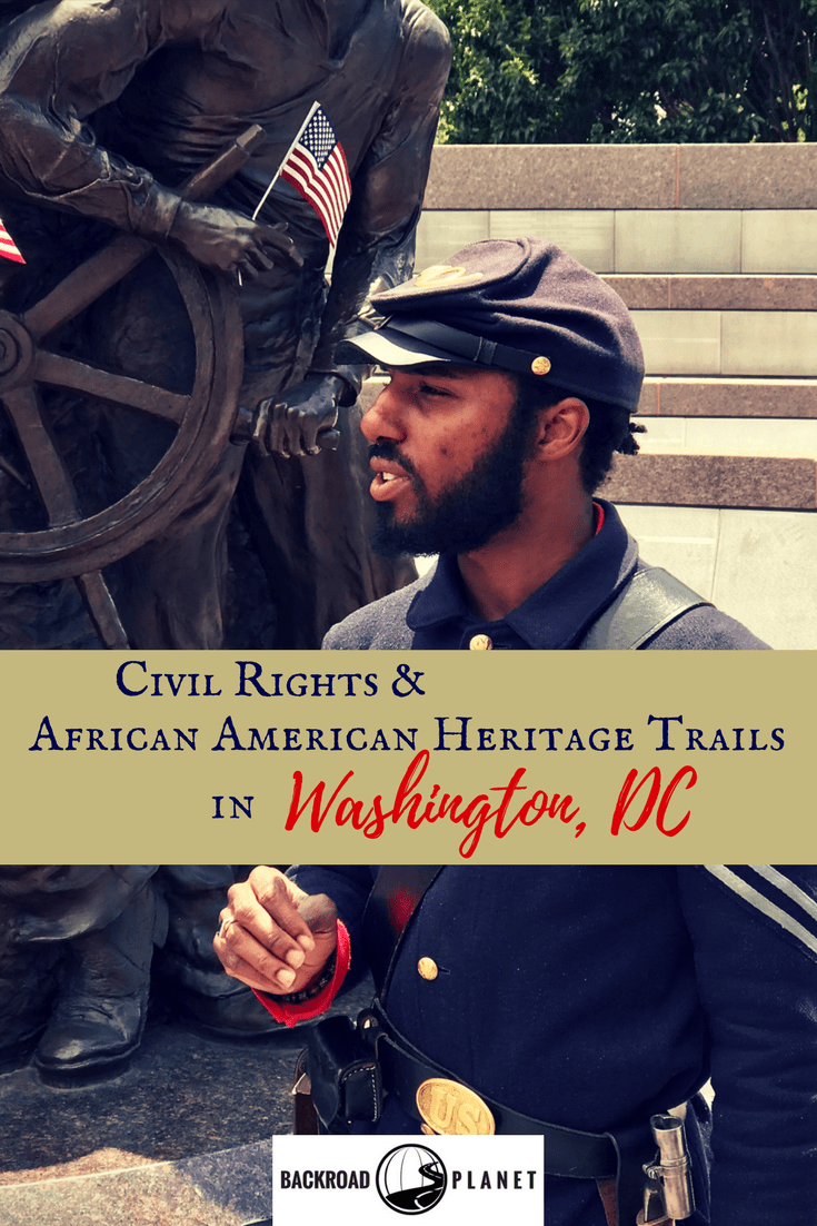 Follow African American heritage trails in Washington, DC, on an itinerary that includes the National Museum of African American Heritage & Culture, the African American Civil War Museum, the Frederick Douglass National Historic Site, the Martin Luther King Jr. Memorial, the Newseum, Ben's Chili Bowl, and other Civil Rights sites. #travel #TBIN #MyDCCool #CivilRights #blackhistory, #WashingtonDC