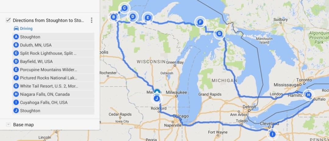 Pictured Rocks Michigan Map.The Great Lakes Tour A Circle Road Trip Itinerary Backroad Planet