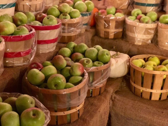 bushels of fresh-picked apples