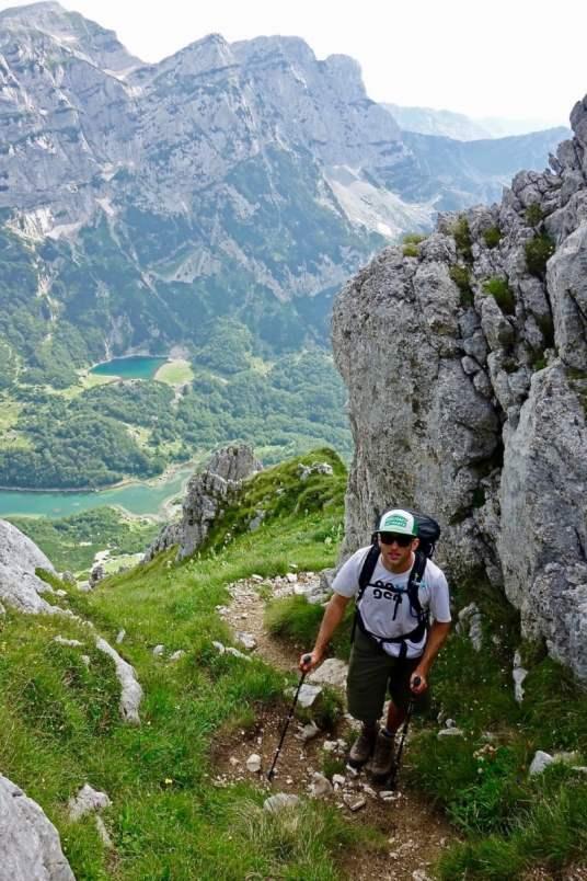 Man hiking up mountain