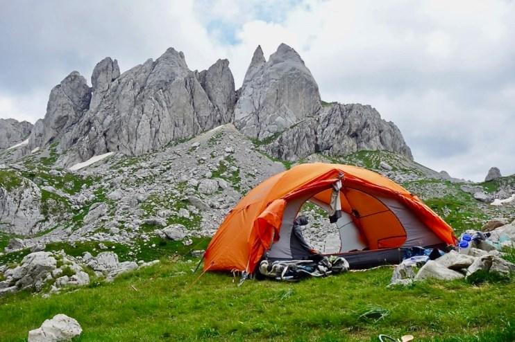 Camping Montenegro with pinnacle rocks