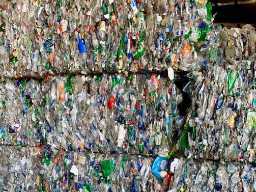 Bales of plastic bottles ready to be recycled.