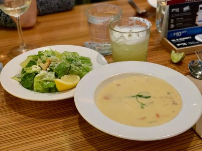 Seafood Chowder and Caesar Salad from Rogue Kitchen